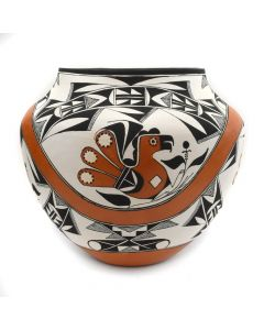 "Franklin Peters - Acoma Polychrome Olla with Bird Design c. 2005, 7.5"" x 8"""