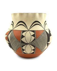 """Evelyn Cheromiah - Laguna Polychrome Jar with Fluted Rim c. 2000s, 6.5"""" x 7"""" (P3112)"""