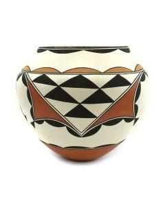 "Marquis Dann-Lente - Laguna Polychrome Jar with Geometric Design c. 2000s, 6.5"" x 7"""