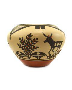 "Eleanor Pino Griego (b. 1953) - Zia Polychrome Jar with Deer Pictorials c. 2000s, 5.5"" x 7.25"""