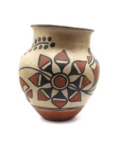 """Santo Domingo Polychrome Vase with Flower Design c. 1920s, 8.5"""" x 7"""" (P3160)"""