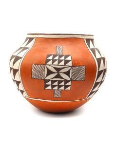 """R.M. Pino - Laguna Polychrome Jar c. 1970-80s, 6"""" x 7.5"""" (P3171)"""