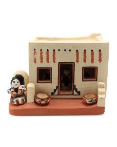 "Percingula R. Tosa - Jemez Adobe House with Miniature Pottery Figurines c. 1977-1983, 3.5"" x 4.5"" x 3.25"" (P3186)"