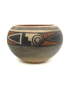 "Lot 290 - Maria Martinez (1887-1980) and Julian Martinez (1885-1943) - Very Rare San Ildefonso Polychrome Bowl c. 1920s, 3.5"" x 5.5"" (P3200)"