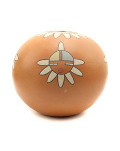 "Virginia Gutierrez-Nambe (1940-2012) - Pojoaque Polychrome Seed Jar with Kachina Designs c. 1980s, 4.5"" x 5"" (P3209)"