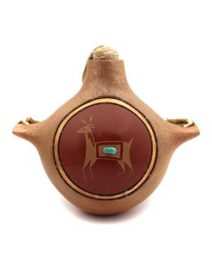 "Russell Sanchez (b. 1963) - San Ildefonso Contemporary Redware and Micaceous Canteen with Carved Deer Design, Kingman Turquoise and Heishi Inclusions, and Leather Strap with Wooden Stopper, 6"" x 7"" x 4.5"" (P3218)"