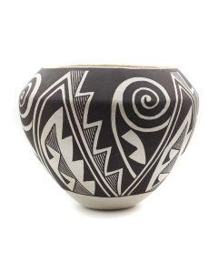 """Sarah Garcia (1928-2015) - Acoma Jar with Spiral Designs c. 1960s, 6"""" x 7"""" (P3222)"""