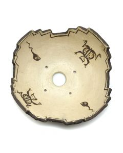 """Zuni Ceremonial Bowl with Frog and Tadpole Design c. 1900-10s, 3"""" x 8"""" (P325-2)"""