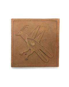 "Awa Tsireh (1895-1955) – San Ildefonso Pottery Tile with Bird, c. 1920s, 5"" x 5"" (P3304-CO-25)"
