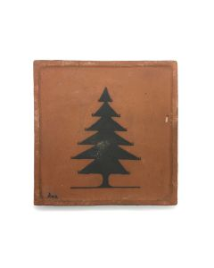 "Awa Tsireh (1895-1955) – San Ildefonso Pottery Tile with Tree, c. 1920s, 5"" x 5"" (P3304-CO-64)"