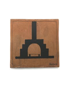 "Awa Tsireh (1895-1955) – San Ildefonso Pottery Tile with Fireplace, c. 1920s, 5"" x 5"" (P3304-CO-66)"
