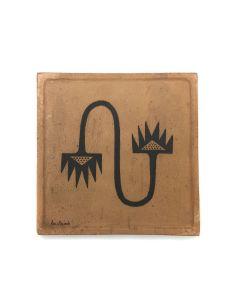 "Awa Tsireh (1895-1955) – San Ildefonso Pottery Tile, c. 1920s, 5"" x 5"" (P3304-CO-70)"