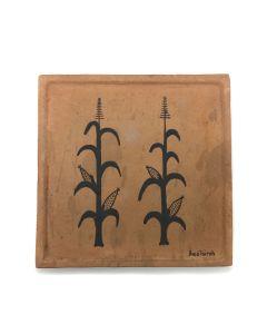 "Awa Tsireh (1895-1955) – San Ildefonso Pottery Tile with Cornstalks, c. 1920s, 5"" x 5"" (P3304-CO-72)"