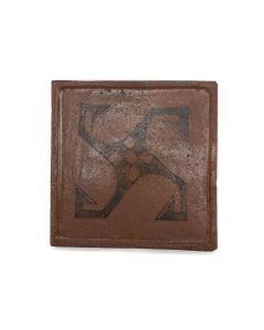 """Awa Tsireh (1895-1955) – San Ildefonso Pottery Tile with Whirling Logs, c. 1920s, 5"""" x 5"""" (P3304-CO-75)"""