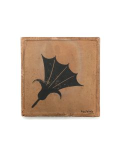 """Awa Tsireh (1895-1955) – San Ildefonso Pottery Tile with Flower, c. 1920s, 5"""" x 5"""" (P3304-CO-79)"""