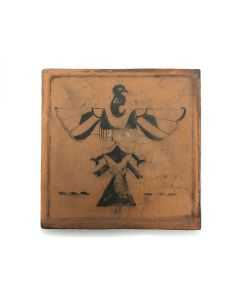 "Awa Tsireh (1895-1955) – San Ildefonso Pottery Tile with Thunderbird, c. 1920s, 5"" x 5"" (P3304-CO-81)"