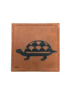 "Awa Tsireh (1895-1955) – San Ildefonso Pottery Tile with Turtle, c. 1920s, 5"" x 5"" (P3304-CO-85)"
