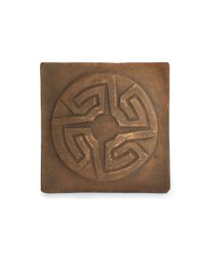 """Awa Tsireh (1895-1955) – San Ildefonso Pottery Tile with Whirling Logs, c. 1920s, 4.75"""" x 4.75"""" (P3304-CO-114)"""