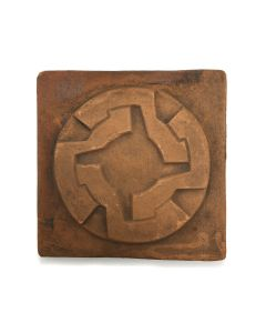 """Awa Tsireh (1895-1955) – San Ildefonso Pottery Tile with Whirling Logs, c. 1920s, 4.75"""" x 4.75"""" (P3304-CO-117)"""