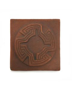 """Awa Tsireh (1895-1955) – San Ildefonso Pottery Tile with Whirling Logs, c. 1920s, 4.75"""" x 4.75"""" (P3304-CO-123)"""