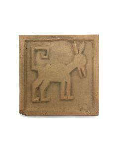 "Awa Tsireh (1895-1955) – San Ildefonso Pottery Tile with Animal, c. 1920s, 4.25"" x 4.25"" (P3304-CO-135)"