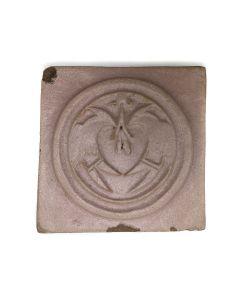 "Awa Tsireh (1895-1955) – San Ildefonso Hand Glazed Pottery Tile with Birds, c. 1920s, 4.75"" x 4.75"" (P3304-CO-139)"
