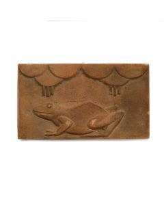 """Awa Tsireh (1895-1955) – San Ildefonso Pottery Tile with Frog and Rainclouds, c. 1920s, 5.25"""" x 9.25"""" (P3304-CO-236)"""