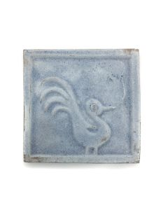 "Awa Tsireh (1895-1955) – San Ildefonso Pottery Tile with Bird, c. 1920s, 4"" x 4"" (P3304-CO-284)"