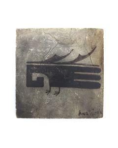 "Awa Tsireh (1895-1955) – San Ildefonso Pottery Tile with Bird, c. 1920s, 6.5"" x 6.5"" (P3304-CO-335)"
