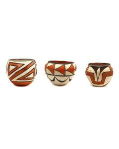Group of 3 - Acoma Polychrome Jars c. 1940-50s (P3319)