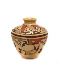 "Hopi Polychrome Micaceous Vase with Geometric Design c. 1990-2000s, 5.75"" x 4.75"" (P3343)"