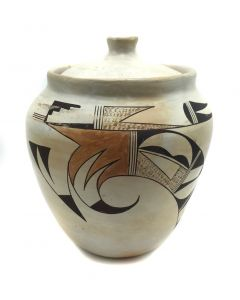 "Joy Navasie (1919-2012) (Frog Woman) - Hopi Polychrome Lidded Jar, c. 1960s, 8.5"" x 7.25"" (P3356)"
