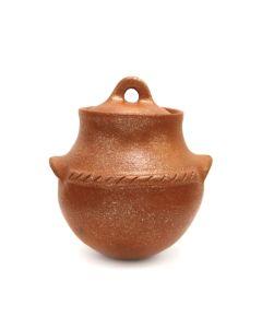 "Taos Contemporary Micaceous Redware Lidded Jar, 5.5"" x 5"" x 4.5"" (P3363-12)"