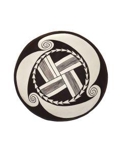 "Thornburg - Non-Native Contemporary Bowl with Spiral Design, 7.75"" x 6"" (P3363-39)"