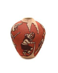 "Marty Naha (b. 1970) and Elvira Polacca Nampeyo (b. 1968) - Hopi Polychrome Vase with Carved Kachina Pictorials c. 1993, 7.5"" x 6"" (P3363-41)"
