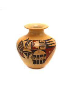 """Dextra Quotskuyva Nampeyo (1928-2019) - Hopi Polychrome Vase c. 1990s, 4"""" x 3.75"""" (P3363-50)"""