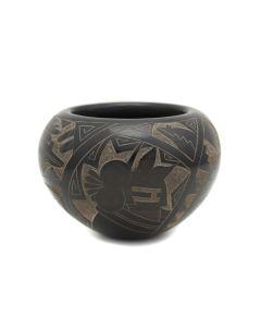 "Santa Clara Black Sgraffito Jar with Kachina and Heartline Bear Design c. 1990s, 3"" x 4.25"" (P3363-72)"