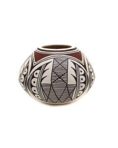 "Sylvia Naha (Feather Woman) (1951-1999) - Hopi Polychrome Jar c. 1960-70s, 3.5"" x 4.75"" (P3363-77)"