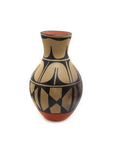 "Robert Aguilar - Santo Domingo (Kewa) Polychrome Vase c. 1960s, 13.5"" x 8"" (P3369)"
