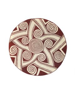 """Thornburg - Anglo Micaceous Plate with Geometric Spiral Design c. 1990, 2"""" x 12.25"""" (P3380)"""