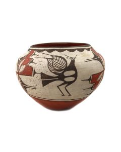 "Seferine Bell (1920-1986) - Zia Polychrome Jar with Bird Pictorials c. 1930-40s, 7.5"" x 10.5"" (P3430)"