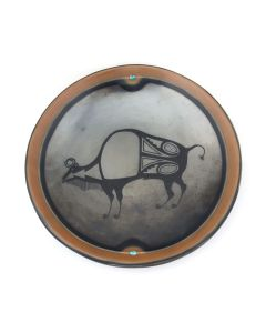 """Tony Da (1940-2008) - San Ildefonso Black Gunmetal and Sienna Plate with Buffalo Pictorial and Turquoise Inclusions c. 1970s, 2"""" x 11.25"""" (P3488)"""
