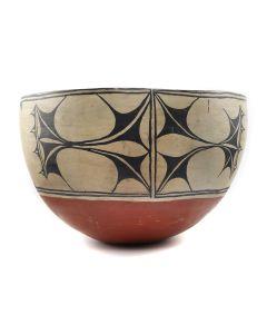 """Santo Domingo (Kewa) Polychrome Dough Bowl c. 1900-20s, 10.5"""" x 16.5"""" (P90198-1220-002)"""