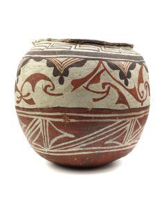 "Zuni Polychrome Jar c. 1920s, 7"" x 8"" (P90206B-0313-006)"