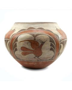"Zia Polychrome Olla with Bird Designs, c. 1920-30, 8"" x 11"""