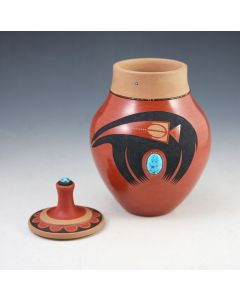 SOLD Tony Da (1940-2008) - San Ildefonso Redware Lidded Vase with Turquoise, Heishi, Sgraffito and Bear Design
