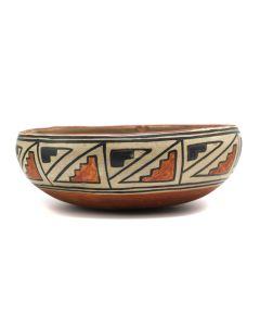 "Maria Martinez (1887-1980) and Julian Martinez (1885-1943) - San Ildefonso Polychrome Bowl with Bird Designs c. 1910-20s, 2"" x 10"" (P90299B-0420-001)"