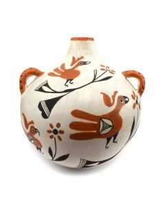 "Acoma Polychrome Canteen with Bird Design c. 1930s, 7.25"" x 7"" x 7"""