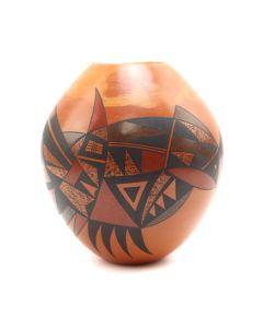 """Steve Lucas (b. 1955) - Hopi Contemporary Redware Jar with Carved Design, 3.5"""" x 3"""" (P90350B-0620-007)"""