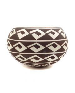 "Carmel Lewis (b. 1947) - Acoma Bowl with Geometric Design c. 1994, 3.75"" x 5.5"" (P90350B-0620-017)"